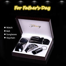 4x Men Business Watch & Sunglasses & Belt &Keychain Gift Set to Father Boyfriend