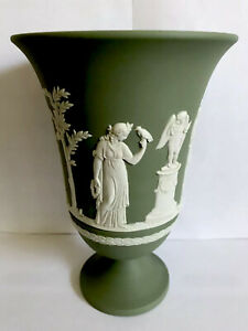 Wedgewood Jasperware Vase. Green Jasper ware. 7.5 Inches High. Lovely Condition.