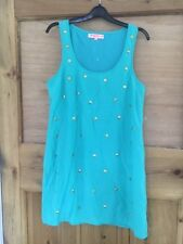 Oh My Love Beach Cover Up / Summer Dress Size S (8-10) Turqoise Blue / Gold Stud