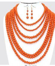 Long Dark Orange Pearl Multi Layered Bib Bead Statement Necklace Earring Set