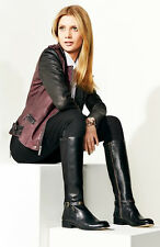 SZ 5.5 MICHAEL Michael Kors Black Leather Elastic Back Arley Knee Tall Boot Shoe