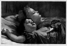 CHILDREN AND DOLL TAKING MID DAY NAP ASLEEP ON BED ANTIQUE JUVENILE ENGRAVING