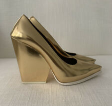 Celine Gold Patent Leather Shoes Size 38 USED Gently worn