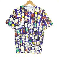 Vintage Peanuts x Moon Womens Button Up Shirt w/ Front Pockets All Over Print