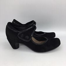 Earthies LUCCA Mary Jane US 9.5 B Black Suede Pump Heels