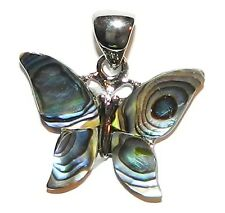 P1883L2 Abalone Shell Full Butterfly 26mm Pendant w Silver Brass Setting  & Bail