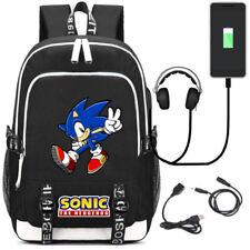 Sonic The Hedgehog USB Charging Backpack School Bag Headphone Unisex Rucksack