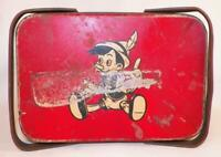 Vintage Pinocchio Tin Lunch Box Basket Walt Disney Productions WDP 1940 As Is