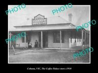 OLD POSTCARD SIZE PHOTO OF COHUNA VICTORIA THE COFFEE PALACE STORE c1910
