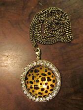 "Brass Tone Metal Chain with Round Animal Print & Diamante Pendant - 33"" long"