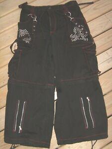"Men's XL 38"" Vintage Tripp NYC Black Red Stitch Metal Chain & Spike Skull Pants"