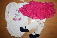 Nwt Gymboree Pups and Bunnies 18-24 Mo Set Bunny Shirt Pink Tutu Skirt Tights