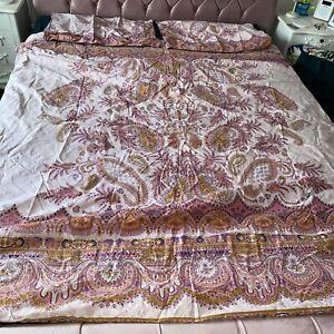 M&S Jaipur Pink Paisley Print Double Bedding Set