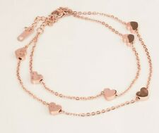 "Foot Ankle 10"" Chain Bracelet Beach Rose Gold Stainless Steel Heart Anklet"