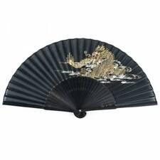 Japanese Folding Fan - Black Dragon Silk & Bamboo Paper Oriental Fan