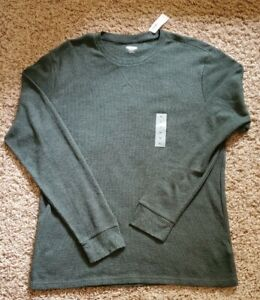Old Navy GREEN Soft Washed Thermal Knit Long Sleeve Shirt Men XL  NWT Brand New