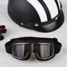 New Aviator Leather Black Lens Motorbike Anti UV Wind Dust Protected Goggles