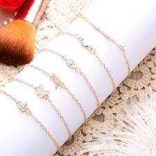 Fashion Women 6Pcs Butterfly Flower Shining Bracelets Set Rhinestone Bangle Jian