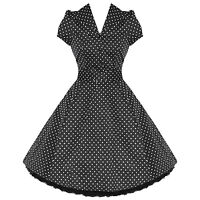 Ladies New Black Polka Dot Vtg 50s Retro Pinup Rockabilly Party Prom Swing Dress
