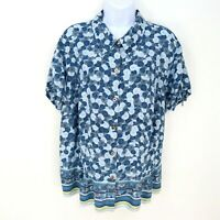 Emma James Button Up Collar Shirt Womens Plus Size 20W Blue White Floral PRETTY!