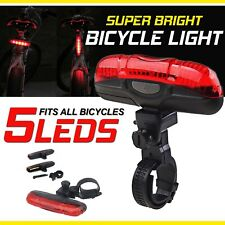 Bicycle Lights Red Beam 5 LED Rear Cycle Bike Back Waterproof Tail Lamp +Battery