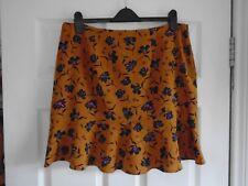BNWT Dark mustard + coloured floral print ruffled hem summer mini skirt UK 18