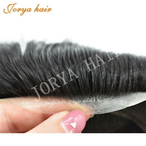 Mens Toupee French lace Hairpieces Poly pu skin around Hair System Replacement