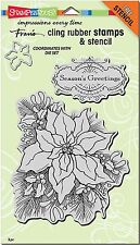CHRISTMAS POINSETTIA Unmounted Cling Rubber Stamps Set Stampendous CRS5081 NEW