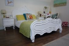 French Style Parisian Double Bed In White - Handmade & Hand Carved