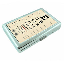 Vintage Poster D14 Silver Cigarette Case Money Card Holder Retro Eye Exam Chart