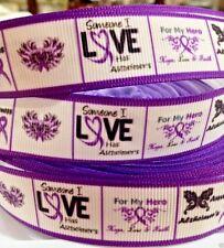 "Grosgrain Ribbon 7/8"" Alzheimer's Awareness W2 AW1 RAA Printed USA Seller"