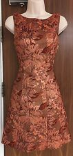 KAREN MILLEN Rose Gold Floral Jacquard Dress Size UK 10 Sold Out!!!