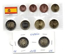 EUROS 2018 ESPAÑA 10 monedas SC (2 Euros 2018 SANTIAGO 2 Euros 2018 ANIVERSARIO)