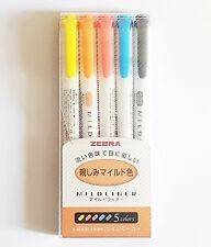 ZEBRA Mildliner Soft Color Double-Sided Highlighter Pen 5Colors SET / WKT7-N-5C
