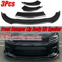 For 15-19 Dodge Charger SRT Carbon Fiber Look Front Bumper Lip Spoiler Splitter