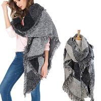 Women Long Cashmere Winter Wool Blend Soft Warm Scarf Wrap Shawl Plaid Scarf