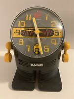 Vintage Casio AC-100 Robot Alarm Clock 1980's Yellow Made in Japan Retro READ