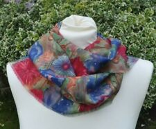 Scarf in Liberty Varuna Wool pink, blue, green, rust abstract floral