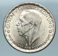 1945 Sweden GUSTAF V Silver Krona Crowned ARMS Antique Vintage Coin i83669