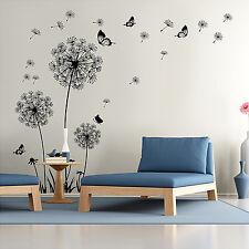 Huge Flowers Dandelion Black Wall Art Decal Stickers Home Decoration Living Room