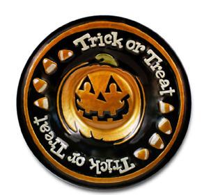Pfaltzgraff Happy Halloween Round Glass Candy Serving Bowl 15.25 Inch Dia New
