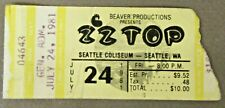 1981 Zz Top Seattle Center Washington rock concert ticket