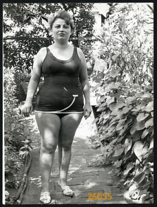 chubby woman posing in swimsuit, Vintage Photograph, 1960'