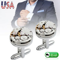 Watch Movement Cufflinks Men's Steampunk Vintage Sliver Cuff Links Wedding Gift