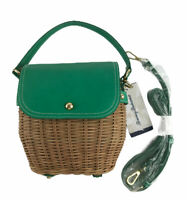 TOMMY BAHAMA RATTAN WICKER GREEN LEATHER SATCHEL HANDBAG PURSE CROSSBODY