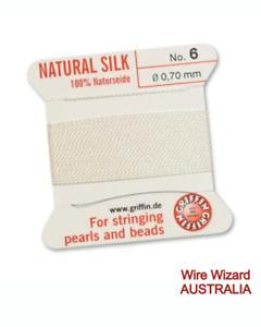 GRIFFIN 100% Pure Silk Bead Cord - WHITE - 2 metres cord + needle