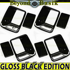 1999-16 Ford F250 F350 F450 F550 Crew Cab GLOSS BLACK Door Handle Covers w/o Psk