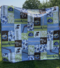 Pottery Barn Quilt Surfer Kayak Beach Embroidered Cotton Euc 88 X 88 Full