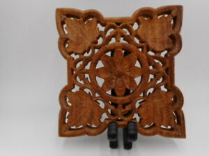 Vintage Hand Carved Wooden Trivet Teak Hot Plate Footed Stand With Leaves India