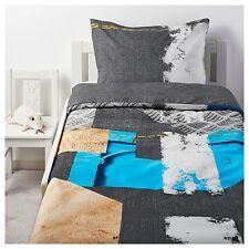 Ikea Pimpla Single Quilt Cover & Pillowcase, grey / multicolour